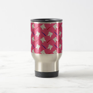 Cute pink toothburshes and teeth pattern travel mug