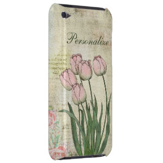 Cute Pink Tulips on Vintage Background iPod Case-Mate Cases