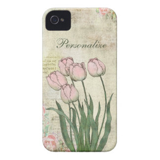 Cute Pink Tulips on Vintage Background iPhone 4 Case-Mate Cases