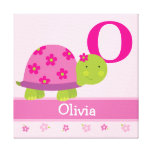 Cute Pink Turtle Children's Room Canvas Art Print Stretched Canvas Prints