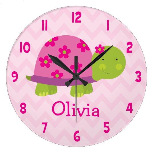 Cute Pink Turtle Personalised Nursery Wall Clock