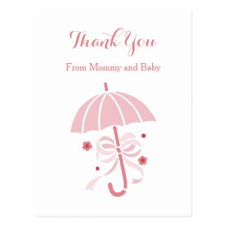 Cute Pink Umbrella and Bow Baby Shower Thank You Postcard