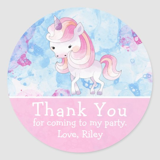 Cute Pink Unicorn Birthday Thank You Classic Round