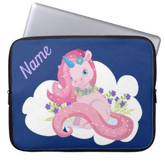 Cute Pink Unicorn Personalized Laptop Sleeve