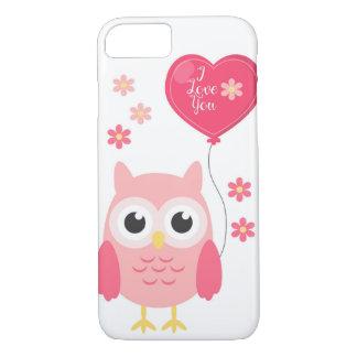 Cute Pink Valentines Owl I Love You iPhone 8/7 Case