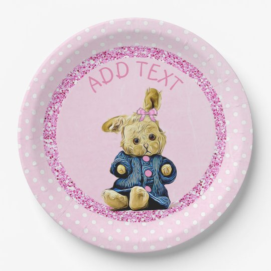 Cute pink Vintage Bunny Rabbit Party Paper Plates