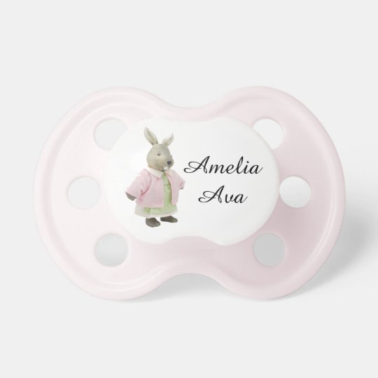 "Cute Pink Vintage Rabbit ""Amelia"" Pacifier"