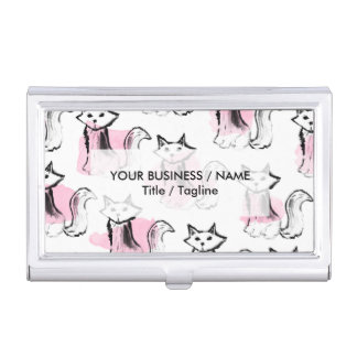 Cute pink watercolor black brushstrokes cats trend business card holder