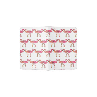 Cute Pink Watercolor Flamingos on White Passport Holder