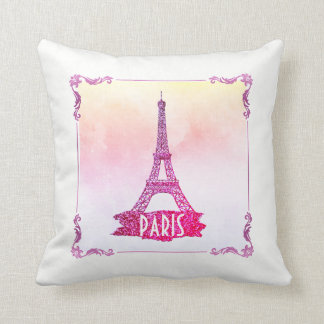 Cute Pink Watercolor Paris Eiffel Tower Girly Cushion
