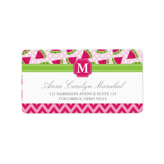 Cute Pink Watermelon Polka Dots Chevron Monogram Address
