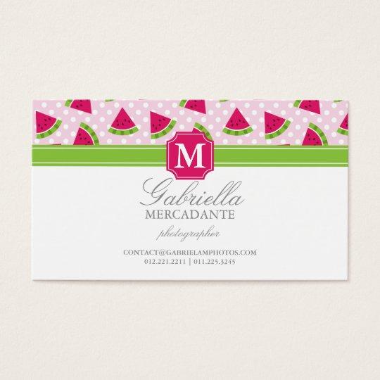 Cute Pink Watermelon Polka Dots Chevron Monogram Business Card
