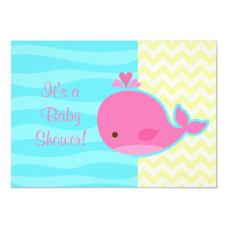 Cute Pink Whale Baby Shower Card