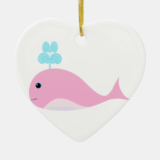 Cute Pink Whale Christmas Ornament