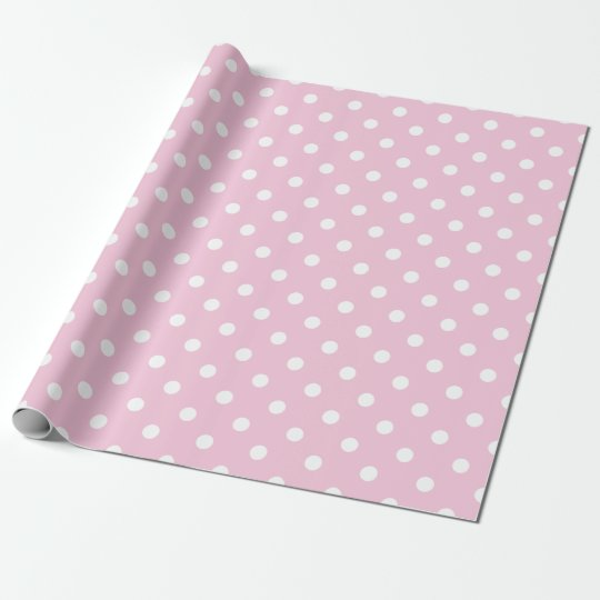 Cute Pink White Dots Baby Girl Wrapping Paper