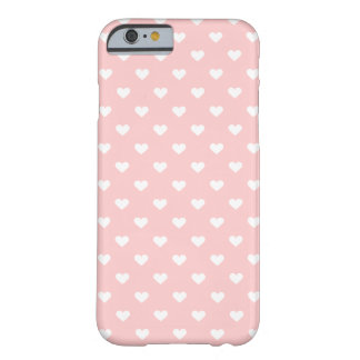 Cute Pink White Heart Pattern Girly iPhone 6 Case Barely There iPhone 6 Case