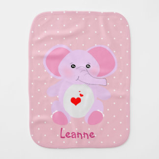 Cute Pink White Polka dot baby elephant girl Burp Cloth