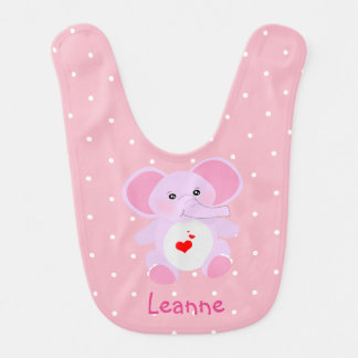 Cute Pink White Polka Dot Elephant Baby Girl Bib