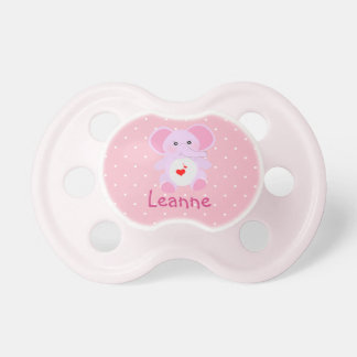Cute Pink White Polka Dot Elephant Baby Girl Dummy