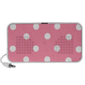 Cute Pink & White Polka Dot Pattern Doodle Speaker