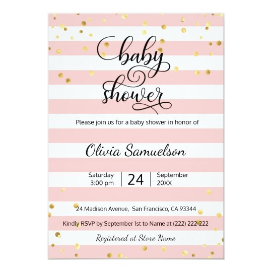 Cute Pink White Stripes Black Gold Baby Shower