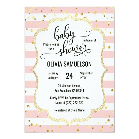 Cute Pink White Stripes Gold Black Baby Shower