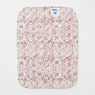 Cute pink white vintage floral design burp cloth