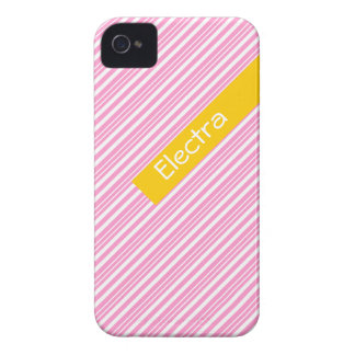 Cute pink, white, yellow striped pattern iPhone 4 cover