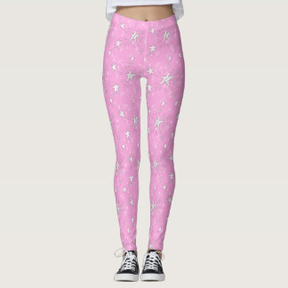 Cute Pink with White Stars Leggings