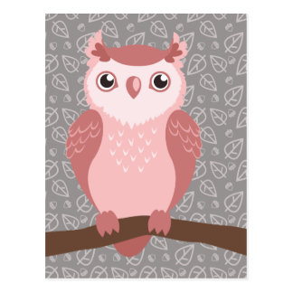 Cute PInk Woodland Owl Postcard