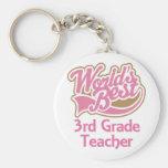 Cute Pink Worlds Best 3rd Grade Teacher Basic Round Button Key Ring