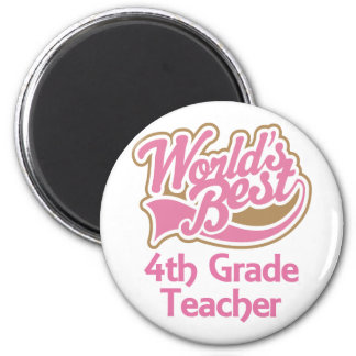 Cute Pink Worlds Best 4th Grade Teacher 6 Cm Round Magnet