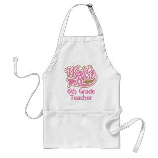 Cute Pink Worlds Best 6th Grade Teacher Standard Apron