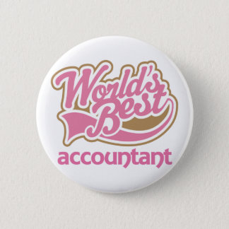 Cute Pink Worlds Best Accountant 6 Cm Round Badge