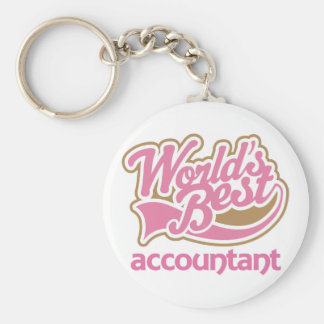 Cute Pink Worlds Best Accountant Basic Round Button Key Ring