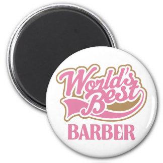 Cute Pink Worlds Best Barber Magnet