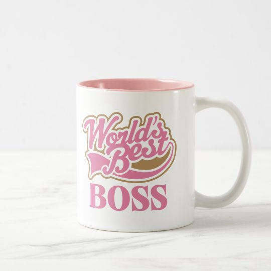 Cute Pink Worlds Best Boss Two-Tone Coffee Mug
