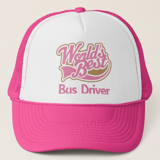 Cute Pink Worlds Best Bus Driver Trucker Hat