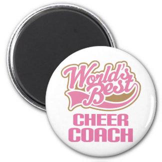 Cute Pink Worlds Best Cheer Coach 6 Cm Round Magnet