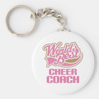Cute Pink Worlds Best Cheer Coach Basic Round Button Key Ring