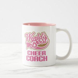Cute Pink Worlds Best Cheer Coach Two-Tone Mug