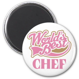 Cute Pink Worlds Best Chef 6 Cm Round Magnet