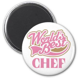 Cute Pink Worlds Best Chef 6 Cm Round Magnet