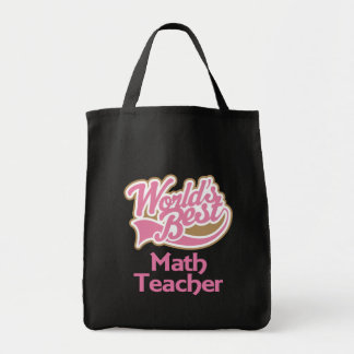 Cute Pink Worlds Best Math Teacher Tote Bag