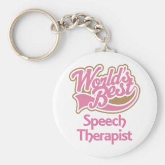 Cute Pink Worlds Best Speech Therapist Key Ring