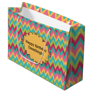 Cute Pink Yellow Teal Green Chevron Large Gift Bag