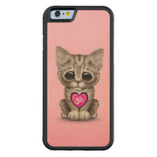 Cute Pink Yoga Love Om Kitten Carved Maple iPhone 6 Bumper Case