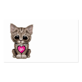 Cute Pink Yoga Love Om Kitten Pack Of Standard Business Cards