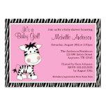 "Cute Pink Zebra Baby Shower Invitations 5"" X 7"" Invitation Card"