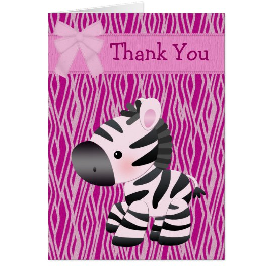 Cute Pink Zebra & Cupcake (inside) Thank You Card